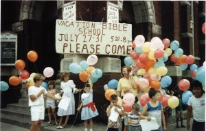 A VBS program reaches out to the many children in the community in the 1980's; note the advdertizement for the bilingual Sunday service