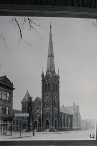 A picture of the new church building (1889) before the steeple was removed in the 1920's