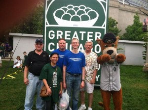 The five walkers from the 2013 Hunger Walk--with a furry friend who congratulated us on completing the walk